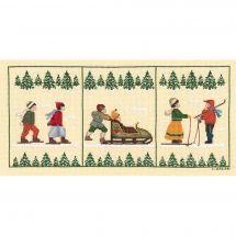 Kit point de croix - Le Bonheur des Dames - Triptyque skieurs