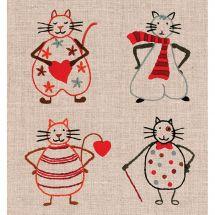 Kit au point de broderie  - Le Bonheur des Dames - 4 chats