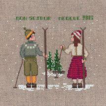 Kit point de croix - Le Bonheur des Dames - Deux skieurs
