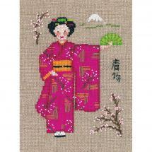 Kit point de croix - Le Bonheur des Dames - Kimono rose