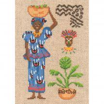 Kit point de croix - Le Bonheur des Dames - Africaine en bleu