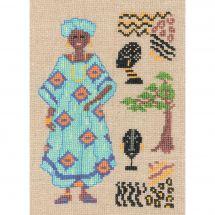 Kit point de croix - Le Bonheur des Dames - Africaine en turquoise