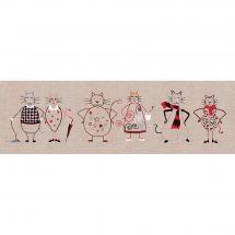 Kit au point de broderie  - Le Bonheur des Dames - Frise de chats 2