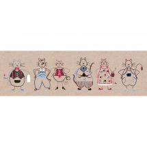 Kit au point de broderie  - Le Bonheur des Dames - Frise de chats 1