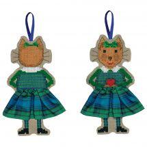 Kit d'ornement à broder - Le Bonheur des Dames - Chat jupette écossaise bleue