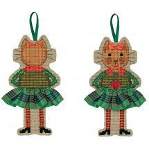 Kit d'ornement à broder - Le Bonheur des Dames - Chat jupette écossaise verte