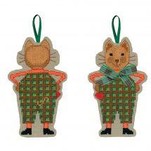 Kit d'ornement à broder - Le Bonheur des Dames - Chat noeud écossais vert
