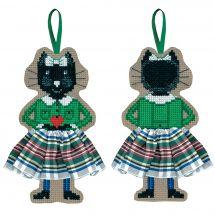 Kit d'ornement à broder - Le Bonheur des Dames - Chat jupette écossaise blanche