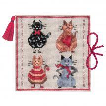 Kit de support à broder - Le Bonheur des Dames - Drôles de chats - Etui aiguilles
