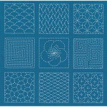 Kit au point de broderie  - Le Bonheur des Dames - Patchwork Sashiko bleu