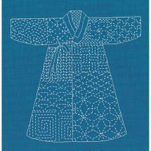 Kit au point de broderie  - Le Bonheur des Dames - Kimono Sashiko bleu