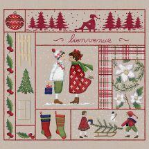Kit au point de broderie  - Le Bonheur des Dames - Bienvenue - Décembre (imprimée)
