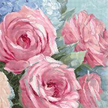 Kit point de croix - Letistitch - Roses pâles