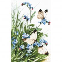 Kit point de croix - Letistitch - Papillons et fleurs bleues