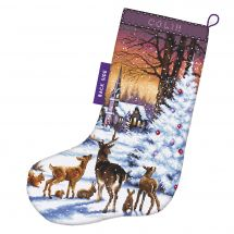 Kit de chaussette de Noël à broder - Letistitch - Dans les bois