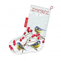 Kit de chaussette de Noël à broder - Letistitch - Mésanges en hiver