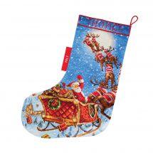 Kit de chaussette de Noël à broder - Letistitch - Les rennes sur le chemin