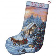 Kit de chaussette de Noël à broder - Letistitch - Réveillon de Noël
