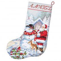 Kit de chaussette de Noël à broder - Letistitch - Père Noël et bonhomme de neige