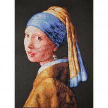 Kit point de croix - Luca-S - La jeune fille à la perle d'après Vermeer