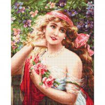 Kit point de croix - Luca-S - Jeune femme aux roses