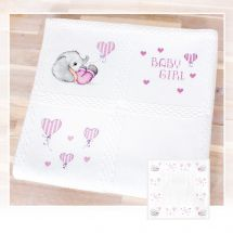 Kit de plaid à broder - Luca-S - Eléphant rose