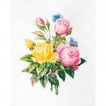Kit point de croix - Luca-S - Roses jaunes et roses