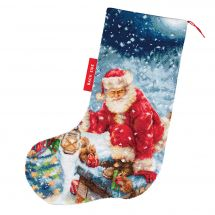 Kit de chaussette de Noël à broder - Luca-S - En route !