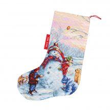 Kit de chaussette de Noël à broder - Luca-S - Bonhomme de neige