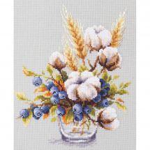 Kit point de croix - Magic Needle - Fleurs de coton et myrtilles