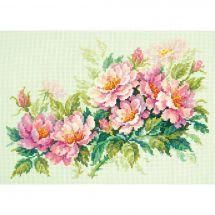 Kit point de croix - Magic Needle - Pivoines roses