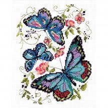 Kit point de croix - Magic Needle - Papillons bleus