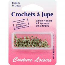 Crochets à jupe - Couture loisirs - 14 crochets argent - Taille 3