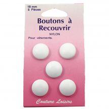 Boutons à recouvrir - Couture loisirs - 5 boutons à coudre - 18 mm