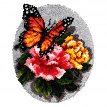 Kit de tapis point noué - Orchidéa - Papillon sur roses