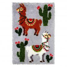 Kit de tapis point noué - Orchidéa - Les lamas
