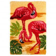 Kit de tapis point noué - Orchidéa - Les flamants roses