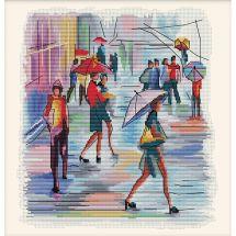 Kit point de croix - Nova Sloboda - Je vais peindre sous la pluie