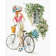 Kit point de croix - Needleart World - Fille à la bicyclette
