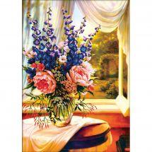 Kit point de croix - Needleart World - Vase de fleurs devant la fenêtre