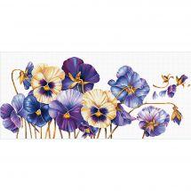 Kit point de croix - Needleart World - Pensées violettes