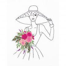 Kit au point de broderie  - Panna - Femme au chapeau