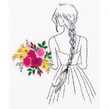 Kit au point de broderie  - Panna - Femme au bouquet