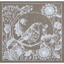 Kit point de croix - Panna - Oiseau de dentelle blanche