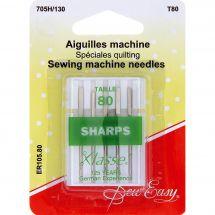 Aiguilles machine à coudre - Sew Easy - Aiguilles pour quilting n°80