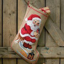 Kit de chaussette de Noël à broder - Permin - Père Noël