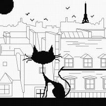 Kit point de croix - Princesse - Chat sur les toits