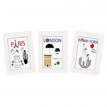 Kit de carte à broder  - Princesse - Paris - Londres - New York
