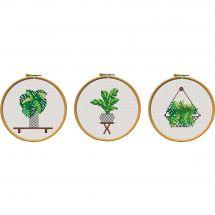 Kit point de croix - Princesse - Lot de 3 tableautins plantes