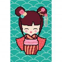 Kit point de croix - Princesse - Kokeshi Sakura